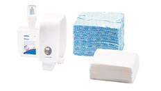 Waschraumhygiene, Wischtücher, Papierhandtücher, Handpflege, Desinfektionsmittel, Lufterfrischer, Spender