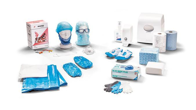 Hygieneprodukte, Einmalhandschuhe, Einwegbekleidung, Einweghandschuhe, Klipphauben, Overalls, Mäntel, Meier Verpackungen